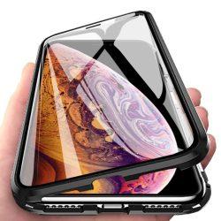 iPhone XS Max átlátszó mágneses tok elöl-hátul üveggel