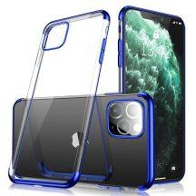 iPhone 12 mini átlátszó tok kék csíkkal + üvegfólia