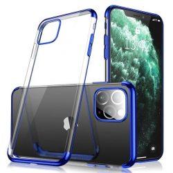 iPhone 12 / 12 pro átlátszó tok kék csíkkal + üvegfólia