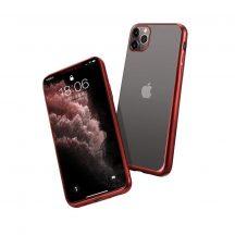 Átlátszó-piros iPhone 12 / 12 pro tok + üvegfólia