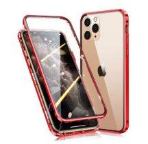 iPhone 12 / 12 pro átlátszó mágneses tok piros mindkét oldalt üveggel