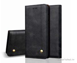 iPhone 12 / 12 pro presztizs, fekete, kinyithatós bőrtok
