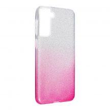 Ezüst-pink csillogó Samsung Galaxy S21 tok