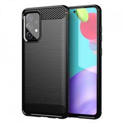 Karbonmintás, fekete Samsung Galaxy A52 tok + üvegfólia