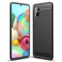 Karbonmintás, fekete Samsung Galaxy A72 tok + üvegfólia