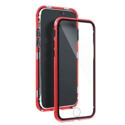 Samsung Galaxy S21 átlátszó mágneses tok piros mindkét oldalt üveggel