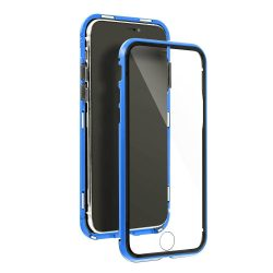 Samsung Galaxy S21 átlátszó mágneses tok kék mindkét oldalt üveggel