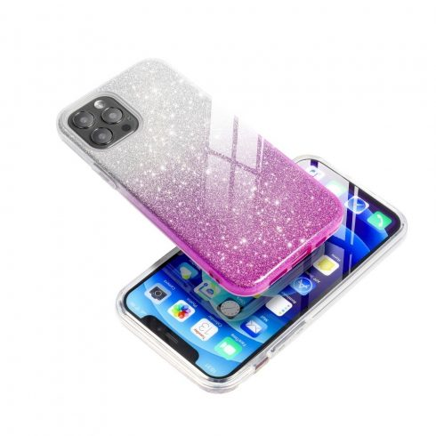 Ezüst-pink csillogó Xiaomi Redmi Note 10 pro tok +üvegfólia