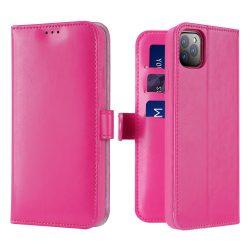 Prémium iPhone 11 Pro kártyatartós flip pink tok