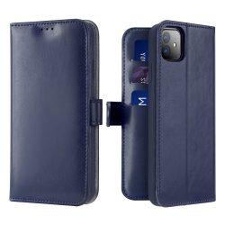 Prémium iPhone 11 kártyatartós flip kék tok