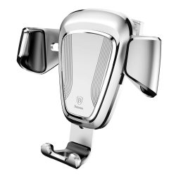 Baseus gravitációs, szellőzőrácsra akasztható, ezüst autós telefontartó
