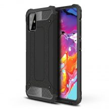 Hybrid Armor fekete Samsung Galaxy A51 ütésálló tok + üvegfólia