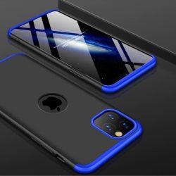 iPhone 12 360°-os kék-fekete tok+üvegfólia