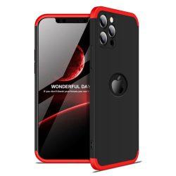 iPhone 12 360°-os piros-fekete tok +üvegfólia