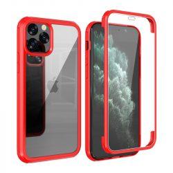 iPhone XS Max átlátszó-piros ütésálló tok mindkét oldalt üveggel