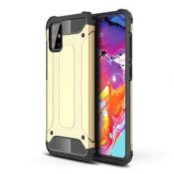 Hybrid Armor arany Samsung Galaxy A71 ütésálló tok üvegfóliával
