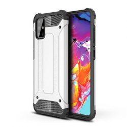 Hybrid Armor ezüst-fekete Samsung Galaxy A71 ütésálló tok üvegfóliával