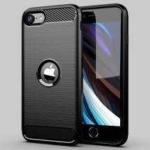 Karbonmintás iPhone SE 2020 tok + üvegfólia