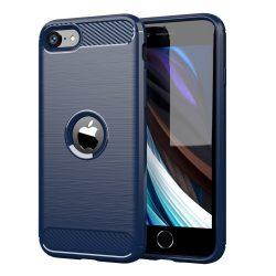 Karbonmintás kék iPhone SE 2020 tok + üvegfólia