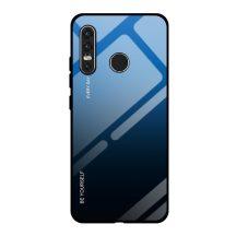 Huawei P40 lite E kék-fekete színátmenetes tok üvegfólia