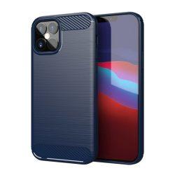 iPhone 12 mini kék karbonmintás tok + üvegfólia