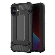 Fekete Armor ütésálló iPhone 12 / 12 pro tok + üvegfólia