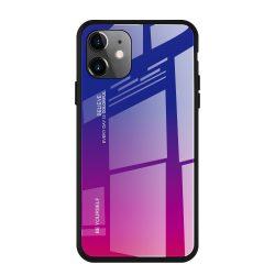 iPhone 12 / 12 pro kék-vörös színátmenetes tok + üvegfólia