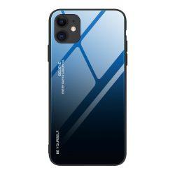 iPhone 12 / 12 pro kék-fekete színátmenetes tok + üvegfólia