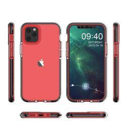 iPhone 12 / 12 pro erősített szilikon tok fekete kerettel +üvegfólia