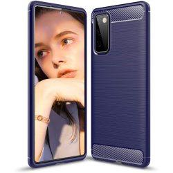 Samsung Galaxy S20 FE karbonmintás, kék szilikon tok + üvegfólia