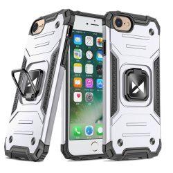 iPhone 7 / 8 / SE 2020 ezüst Ring Armor tok + üvegfólia