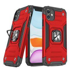 iPhone 11 piros Ring Armor tok + üvegfólia
