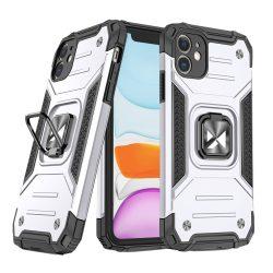 iPhone 11 ezüst Ring Armor tok + üvegfólia