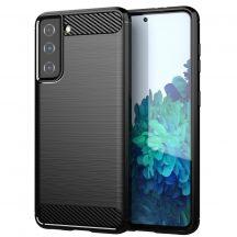 Samsung Galaxy S21 karbonmintás, fekete szilikon tok