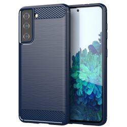 Samsung Galaxy S21 karbonmintás, kék szilikon tok