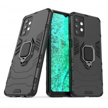 Samsung Galaxy A52 fekete Ring Armor tok + üvegfólia