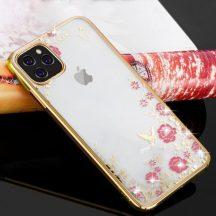 Arany, kristály köves iPhone 11 pro tok