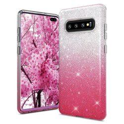 Csillogó, pink Samsung Galaxy S10e tok üvegfóliával
