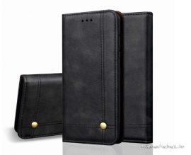 iPhone XS Max presztizs, fekete, kinyithatós bőrtok