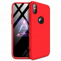 iPhone XS Max 360°-os piros, matt tok +üvegfólia
