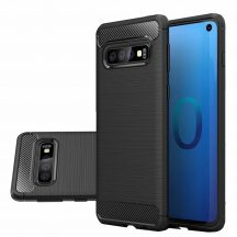 Karbonmintás Samsung Galaxy S10e tok üvegfóliával