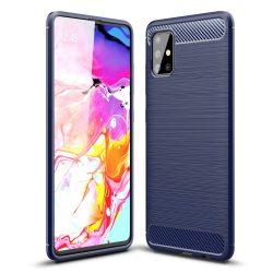 Karbonmintás, kék Samsung Galaxy A71 tok üvegfóliával