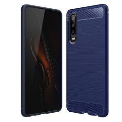 Karbonmintás kék Huawei P30 tok