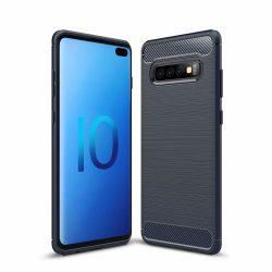Samsung Galaxy S10 plus karbonmintás, kék szilikon tok