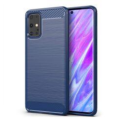 Samsung Galaxy S20 karbonmintás, kék szilikon tok