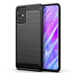 Samsung Galaxy S20 plus karbonmintás, fekete szilikon tok