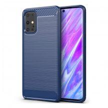 Samsung Galaxy S20 plus karbonmintás, kék szilikon tok