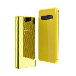 Samsung Galaxy S10e sárga flip clear view tok