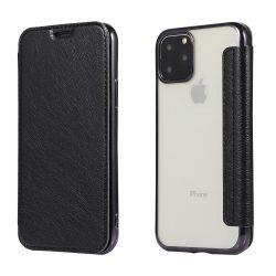 Fekete, kártyatartós, hátul átlátszó Samsung Galaxy S20 tok